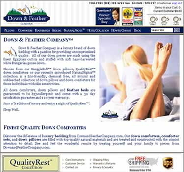 Down and Feather Company homepage