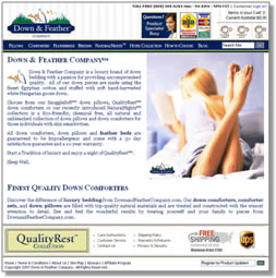 Down and Feather Landing Page