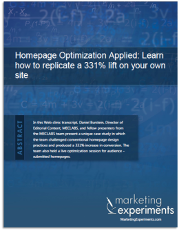 Homepage Optimization Applied