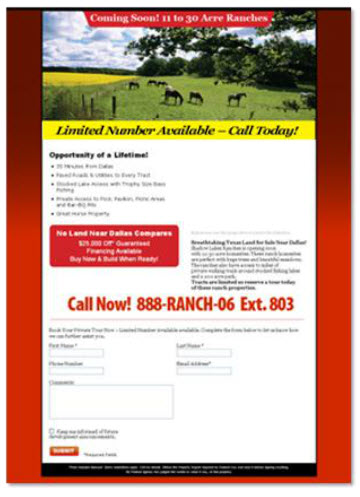 Shadow Lakes Ranch: Landing Page