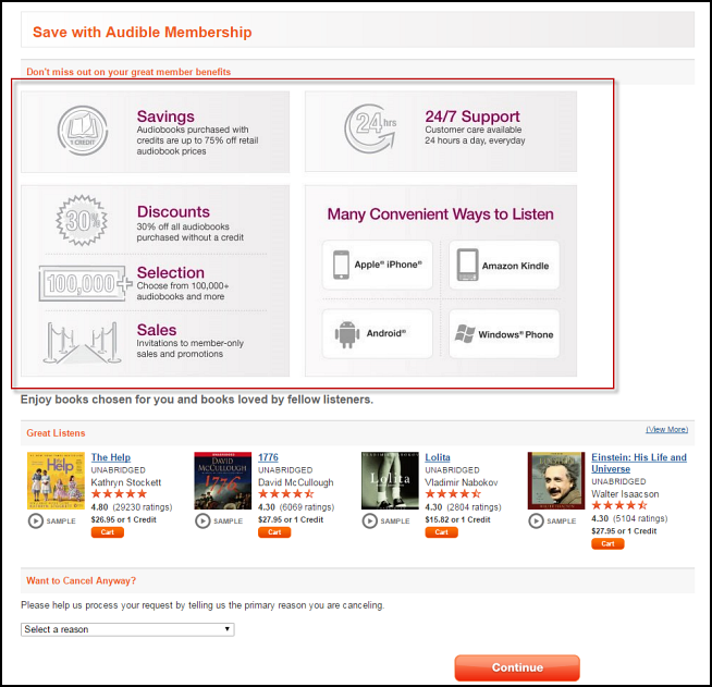 Service Recovery: 3 ways that Audible uses its cancellation path to