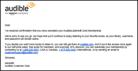 Service recovery 3 ways that audible uses its cancellation path to by incorporating altavistaventures Gallery